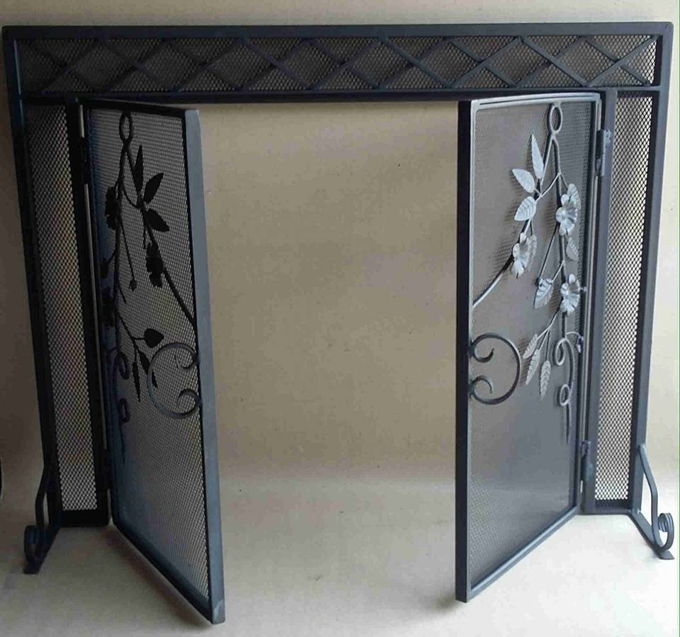 fireplace screens wood vintage fire glass brass and screen best stained french iron on charming regarding renovation design images cast inside