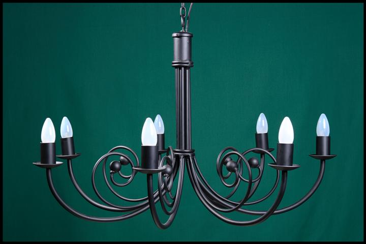 Bruce 7 Arm with Balls Wrought Iron Chandelier