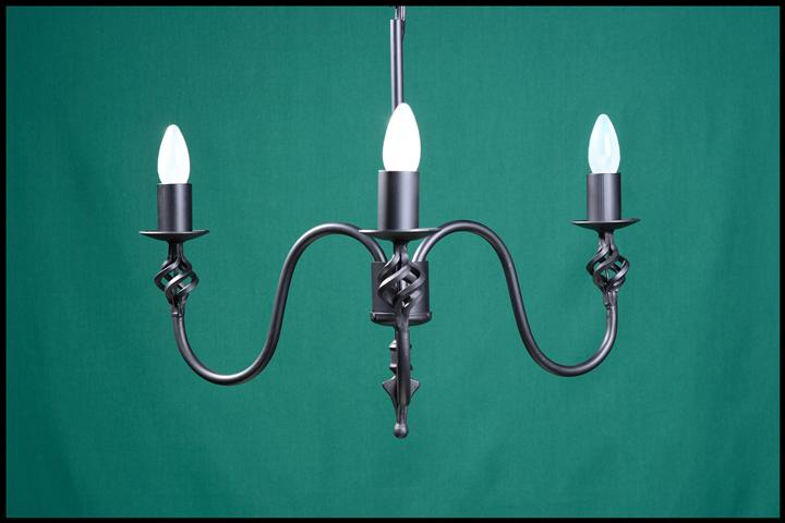 Ingrid 3 Arm Spike Wrought Iron Chandelier