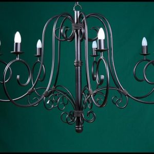 Julia 7 Arm No Leaves Wrought Iron Chandelier