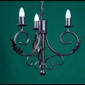 Sally 3 Arm Leaves Wrought Iron Chandelier
