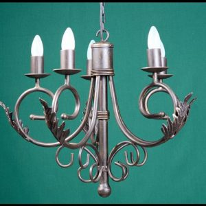 Sally 5 Arm with Leaves Wrought Iron Chandelier