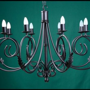Sally 8 Arm with Leaves Wrought Iron Chandelier