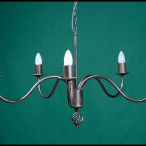 Shallow 5 Arm Wrought Iron Chandelier