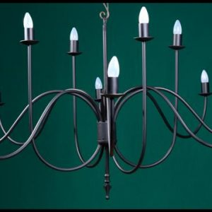 Shallow 12 Arm Spike Wrought Iron Chandelier