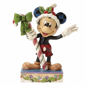 A jolly Mickey Mouse brings a gift of sugar coated candy in this delightful Christmas design from the artistry of Jim Shore.